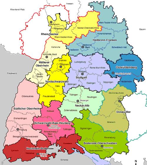 Region Heilbronn Franken Karte.Die 12 Regionalverbände Des Landes